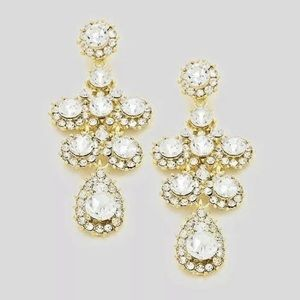 "Jewelry - Bridal Prom Statement  2.75"" Crystal Earrings"